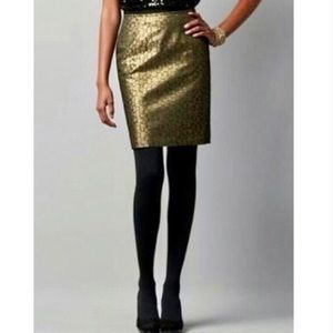LOFT Gold & Black Print Pencil Skirt